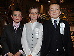 Josh McClennehan, Oisín Murphy and Daragh Hogan from Congress Avenue school who received first holy communion in St Mary's church. Photo: Colin Bell/pressphotos.ie