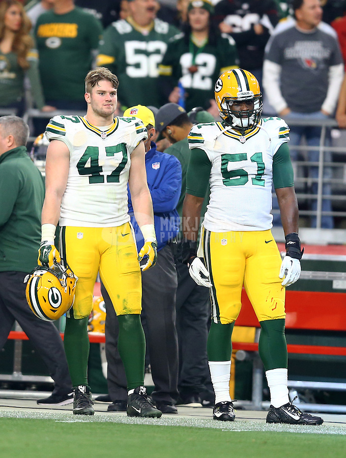 Dec 27, 2015; Glendale, AZ, USA; Green Bay Packers linebacker Jake Ryan (47) and linebacker Nate Palmer (51) against the Arizona Cardinals at University of Phoenix Stadium. The Cardinals defeated the Packers 38-8. Mandatory Credit: Mark J. Rebilas-USA TODAY Sports