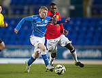 St Johnstone Academy v Manchester United Academy....17.04.15   <br /> Marc Gow fends off Venancio Da Silva Monteiro<br /> Picture by Graeme Hart.<br /> Copyright Perthshire Picture Agency<br /> Tel: 01738 623350  Mobile: 07990 594431