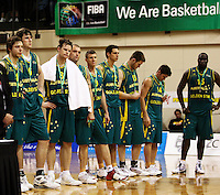 The Boomers are dejected after the loss during the International basketball match between the NZ Tall Blacks and Australian Boomers at TSB Bank Arena, Wellington, New Zealand on 25 August 2009. Photo: Dave Lintott / lintottphoto.co.nz