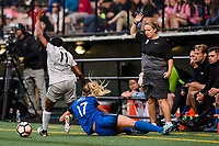 Seattle, WA - Sunday, August 13, 2017: Taylor Smith, Beverly Yanez, Laura Harvey during a regular season National Women's Soccer League (NWSL) match between the Seattle Reign FC and the North Carolina Courage at Memorial Stadium.