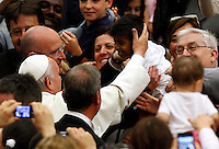 Papa Francesco accarezza un bambino al suo arrivo all'apertura del Convegno Pastorale delle Diocesi di Roma, all'Aula Paolo VI, Citta' del Vaticano, 17 giugno 2013.<br /> Pope Francis carresses a child as he arrives for the opening of the Roman Dioceses' pastoral meeting at the Paul VI hall, Vatican, 17 June 2013.<br /> UPDATE IMAGES PRESS/Riccardo De Luca<br /> <br /> STRICTLY ONLY FOR EDITORIAL USE
