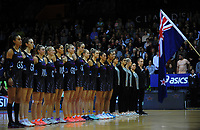 The Silver Ferns line up before the Taini Jamieson Trophy Series netball match between the New Zealand Silver Ferns and England Roses at Claudelands Arena in Hamilton, New Zealand on Wednesday, 13 September 2017. Photo: Dave Lintott / lintottphoto.co.nz