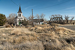 Historic Wadsworth Union Church, abandoned steel truss railroad bridge over the Truckee River, Wadsworth, Nevada.