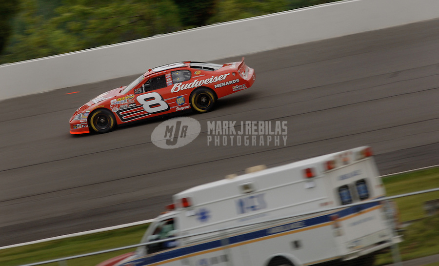 June 9, 2006; Long Pond, PA, USA; Nascar Nextel Cup driver Dale Earnhardt Jr (8) during qualifying for the Pocono 500 at Pocono Raceway. Mandatory Credit: Mark J. Rebilas.