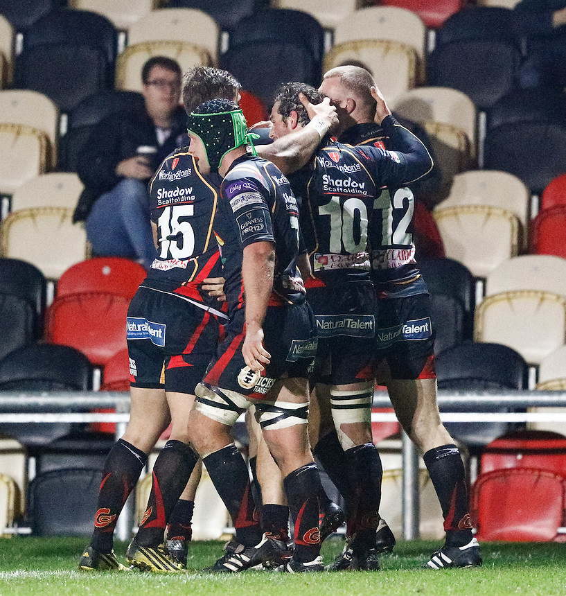 Jack Dixon of Newport Gwent Dragons celebrates scoring his sides second try<br /> <br /> Photographer Simon King/CameraSport<br /> <br /> Guinness PRO12 Round 5 - Newport Gwent Dragons v Glasgow Warriors - Friday 30th September 2016 - Rodney Parade - Newport<br /> <br /> World Copyright &copy; 2016 CameraSport. All rights reserved. 43 Linden Ave. Countesthorpe. Leicester. England. LE8 5PG - Tel: +44 (0) 116 277 4147 - admin@camerasport.com - www.camerasport.com