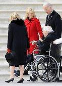 Washington, DC - January 20, 2009 -- Former United States Vice President Dick Cheney and his wife Lynn are escorted from the U.S. Capitol by Vice President Joseph Biden and his wife Jill after after the swearing in of President Barack Obama as the 44th President of the United States during the 56th Presidential Inauguration ceremony in Washington, D.C., USA 20 January 2009..Credit: Tannen Maury - Pool via CNP