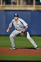 Indiana State Sycamores infielder Derek Hannahs (5) during a game against the Vanderbilt Commodores on February 20, 2015 at Charlotte Sports Park in Port Charlotte, Florida.  Vanderbilt defeated Indiana State 3-2.  (Mike Janes/Four Seam Images)