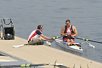 Caversham, Great Britain,  Adaptive ASM 1X Tom AGGAR and coach Tom DYSON, fixing the float.  GB Rowing Training centre. Tuesday  29/05/2012 . Adaptive Press Conference. [Mandatory Credit. Peter Spurrier/Intersport Images]