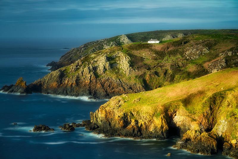 House on hill on the Cornwall coast. England