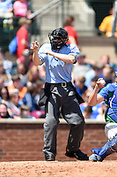 Field umpire Cody Waterhouse makes a call during a game between the Hagerstown Suns and Lexington Legends on May 19, 2014 at Whitaker Bank Ballpark in Lexington, Kentucky.  Lexington defeated Hagerstown 9-8.  (Mike Janes/Four Seam Images)