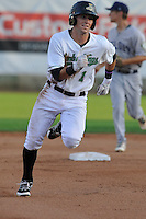 Clinton LumberKings Braden Bishop (1) runs during the Midwest League game against the Beloit Snappers at Ashford University Field on June 11, 2016 in Clinton, Iowa.  The LumberKings won 7-6.  (Dennis Hubbard/Four Seam Images)