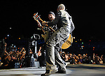 PASADENA, CA. - October 25: The Edge and Adam Clayton of U2 perform at the U2 concert during their 360º Tour at the Rose Bowl on October 25, 2009 in Pasadena, California.