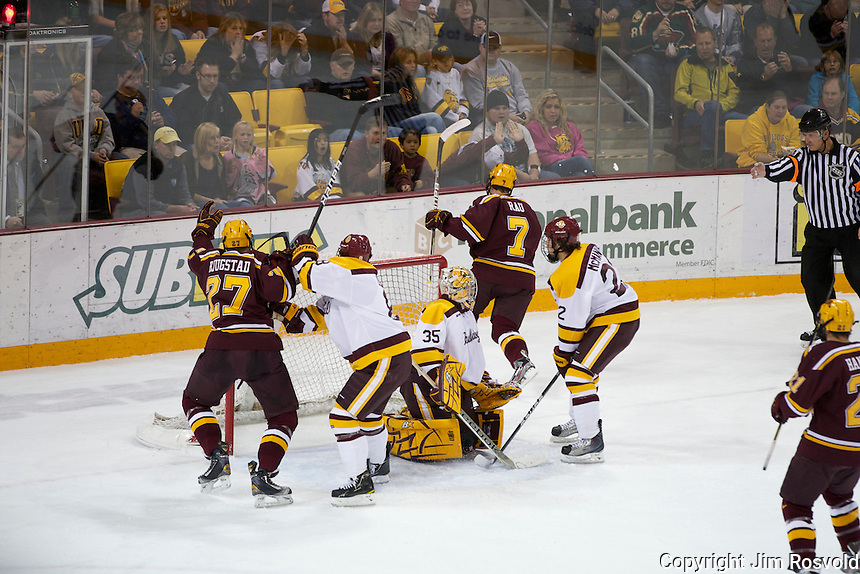 14 Oct 11: The University of Minnesota-Duluth Bulldogs host the University of Minnesota Golden Gophers in a WCHA matchup at Amsoil Arena in Duluth, MN.