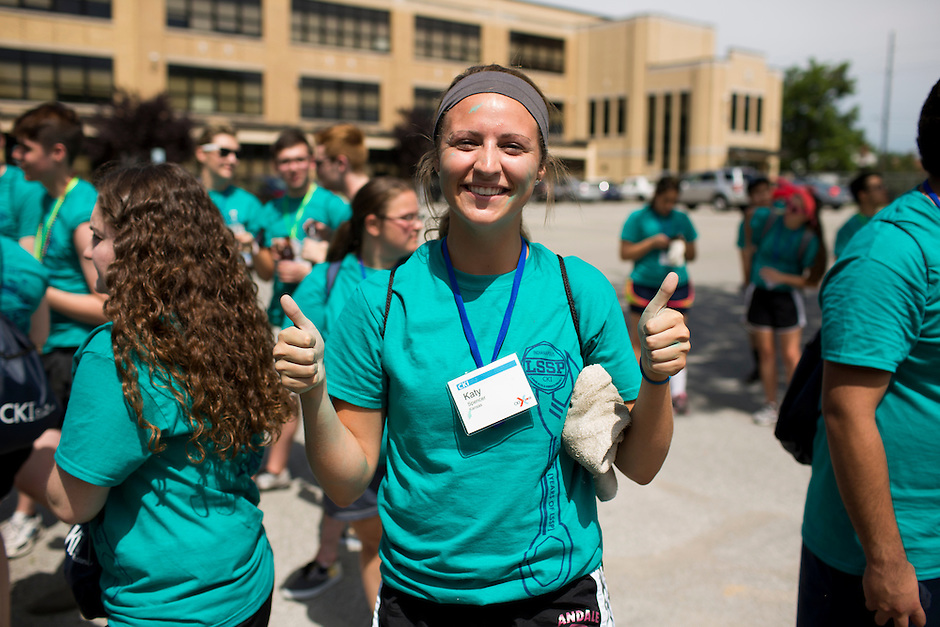 "Katy Spencer poses for a photo during ""Circle the City with Service,"" the Kiwanis Circle K International's 2015 Large Scale Service Project, on Wednesday, June 24, 2015, in Indianapolis. (Photo by James Brosher)"