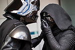 © Joel Goodman - 07973 332324. 30/07/2017 . Manchester , UK . Darth Vader and Kylo Ren take a cigarette break outside the venue . Cosplayers, families and guests at Comic Con at the Manchester Central Convention Centre . Photo credit : Joel Goodman