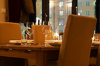Il Fantozzi, Italian restaurant on Sodermalm, candle light and tables set. Stockholm. Sweden, Europe.