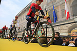 Bahrain-Merida at the team presentation in Antwerp before the start of the 2019 Ronde Van Vlaanderen 270km from Antwerp to Oudenaarde, Belgium. 7th April 2019.<br /> Picture: Eoin Clarke | Cyclefile<br /> <br /> All photos usage must carry mandatory copyright credit (&copy; Cyclefile | Eoin Clarke)