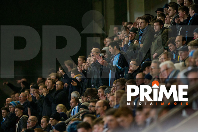 Wycombe Wanderers fans during the Sky Bet League 2 match between Cheltenham Town and Wycombe Wanderers at the LCI Rail Stadium, Cheltenham, England on 30 December 2016. Photo by Mark  Hawkins / PRiME Media Images.
