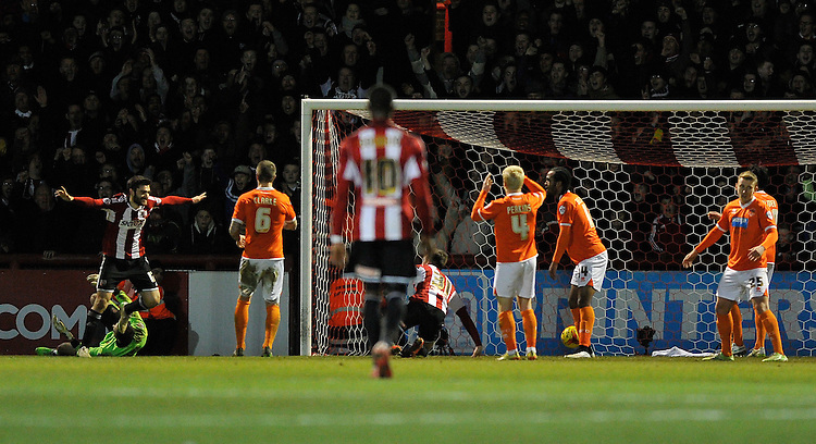 Brentford's Jon Toral scores his sides fourth goal and completes his hat trick<br /> <br /> Photographer Ashley Western/CameraSport<br /> <br /> Football - The Football League Sky Bet League One - Brentford v Blackpool - Tuesday 24th February 2015 - Griffin Park - London<br /> <br /> &copy; CameraSport - 43 Linden Ave. Countesthorpe. Leicester. England. LE8 5PG - Tel: +44 (0) 116 277 4147 - admin@camerasport.com - www.camerasport.com