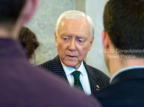 President Pro Tempore of the United States Senate Orrin Hatch (Republican of Utah), a former Chairman and current member of the US Senate Judiciary Committee, meets reporters outside the US Senate Chamber in the US Capitol on Capitol Hill in Washington, DC on Thursday, March 17, 2016.   <br /> Credit: Ron Sachs / CNP