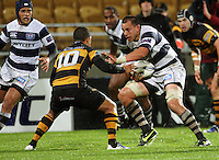Auckland's Chris Lowrey runs at Willie Ripia. Air New Zealand Cup rugby match - Taranaki v Auckland at Yarrows Stadium, New Plymouth, New Zealand. Friday 9 October 2009. Photo: Dave Lintott / lintottphoto.co.nz