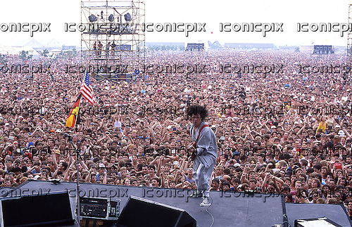 Gary Moore - performing live at Welcome To The Garden Party held at The MK Bowl in Milton Keynes UK - 28 Jun 1986.  Photo credit: George Bodnar Archive/IconicPix