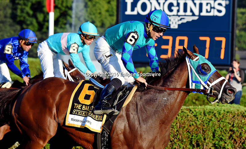 SARATOGA SPRINGS - AUGUST 27: Strike Charmer #6, ridden by Junior Alvarado, wins the Woodford Reserve Ballston Spa Stakes on Travers Stakes Day at Saratoga Race Course on August 27, 2016 in Saratoga Springs, New York. (Photo by Bob Mayberger/Eclipse Sportswire/Getty Images)