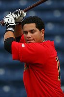April 15 2009: Manny Ferrer of the Visalia Rawhide before game against the Rancho Cucamonga Quakes at The Epicenter in Rancho Cucamonga,CA.  Photo by Larry Goren/Four Seam Images