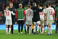 Martin Braithwaite of Denmark is congratulated by Åge Hareide Manager of Denmark during the UFEA Nations League B match between Wales and Denmark at The Cardiff City Stadium in Cardiff, Wales, UK. Friday 16 November 2018