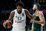 Real Madrid Trey Thompkins and Panathinaikos Ian Vougioukas during Turkish Airlines Euroleague Quarter Finals 3rd match between Real Madrid and Panathinaikos at Wizink Center in Madrid, Spain. April 25, 2018. (ALTERPHOTOS/Borja B.Hojas)