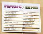 "Cast Board.during the Broadway Opening Night Performance Curtain Call for ""Magic / Bird"" at the Longacre Theatre in New York City on April 11, 2012"