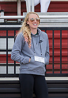 NWA Democrat-Gazette/BEN GOFF @NWABENGOFF<br /> Sandi Morris, former Arkansas pole vaulter, watches Friday, April 12, 2019, during the women's pole vault at the John McDonnell Invitational at John McDonnell field in Fayetteville.