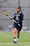 01 March 2015: Notre Dame's Leah Gallagher. The Duke University Blue Devils hosted the University of Notre Dame Fighting Irish on the West Turf Field at the Duke Athletic Field Complex in Durham, North Carolina in a 2015 NCAA Division I Women's Lacrosse match. Duke won the game 17-3.