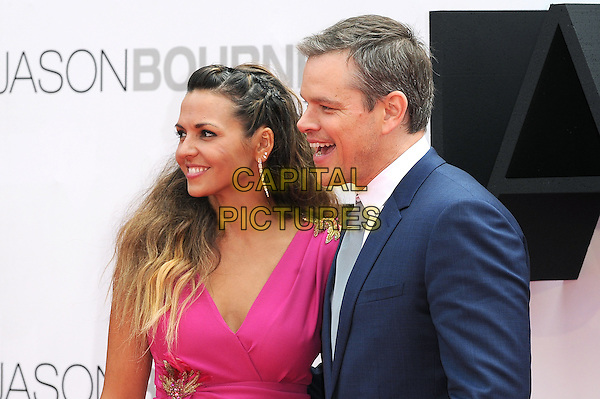 LONDON, ENGLAND - JULY 11: Matt Damon and his wife Luciana Barroso Damon attend the European Premiere of Jason Bourne at Odeon Leicester Square on July 11, 2016 in London, England.<br /> CAP/BEL<br /> &copy;BEL/Capital Pictures