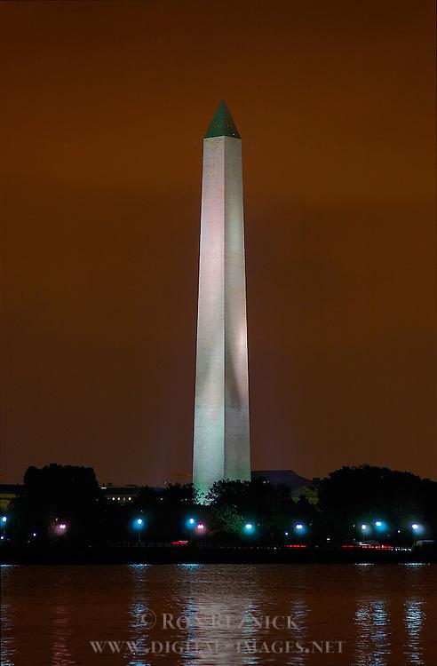 Washington Monument at Night, Potomac Tidal Basin from FDR Memorial, Washington DC