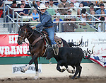 Daxton Jim competes in the team roping event at the Reno Rodeo in Reno, Nev., on Friday, June 20, 2014.<br />