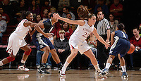 STANFORD, CA - DECEMBER 28: Jeanette Pohlen (23) of Stanford women's basketball on defense in a game against Xavier on December 28, 2010 at Maples Pavilion in Stanford, California.  Stanford topped Xavier, 89-52.
