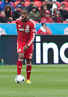 20 April 2013: Toronto FC defender Jeremy Hall #25 in action during an MLS game between the Houston Dynamo and Toronto FC at BMO Field in Toronto, Ontario Canada..The game ended in a 1-1 draw...