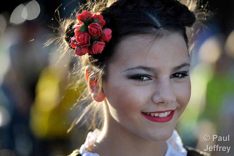 A girl participates in a parade in Smederevo, Serbia.