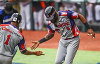 Hector Gomez celebra anotaci&oacute;n de las &Aacute;guilas Cibae&ntilde;as de Republica Dominicana. <br /> <br /> Aspectos del segundo d&iacute;a de actividades de la Serie del Caribe con el partido de beisbol  &Aacute;guilas Cibae&ntilde;as de Republica Dominicana contra Caribes de Anzo&aacute;tegui de Venezuela en estadio Panamericano en Guadalajara, M&eacute;xico,  s&aacute;bado 3 feb 2018. (Foto  / Luis Gutierrez)