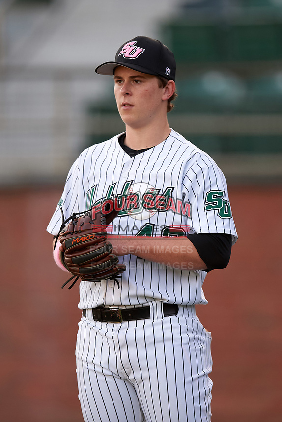 Stetson Hatters pitcher Erik Wiebke (42) during practice before a game against the Siena Saints on February 23, 2016 at Melching Field at Conrad Park in DeLand, Florida.  Stetson defeated Siena 5-3.  (Mike Janes/Four Seam Images)