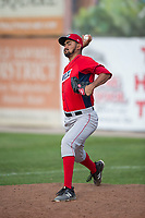 Orem Owlz relief pitcher Luis Alvarado (37) warms up in the bullpen during a Pioneer League game against the Missoula Osprey at Ogren Park Allegiance Field on August 19, 2018 in Missoula, Montana. The Missoula Osprey defeated the Orem Owlz by a score of 8-0. (Zachary Lucy/Four Seam Images)