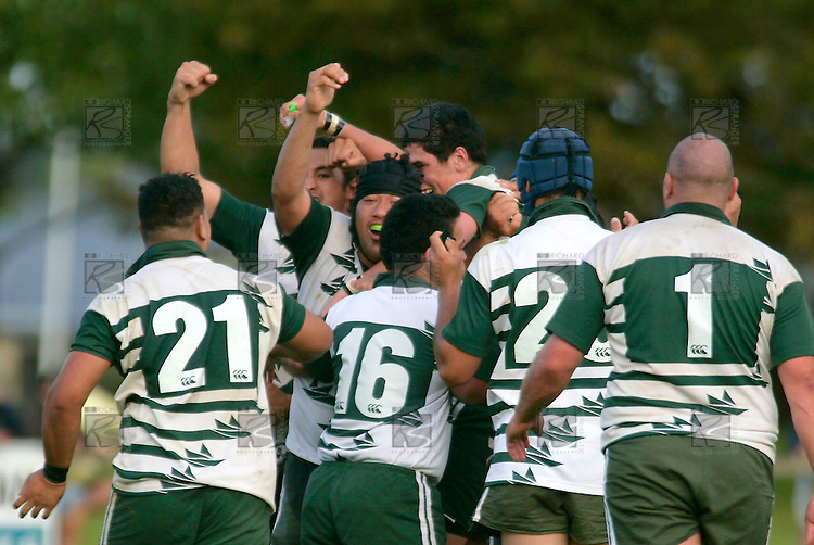 Manurewa players celebrate their last minute victory over Pukekohe. Counties Manukau Premier Club Rugby, Pukekohe v Manurewa  played at the Colin Lawrie field, on the 17th of April 2006. Manurewa won 20 - 18.