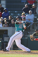 Coastal Carolina Chanticleers outfielder Daniel Bowman #26 at bat during a game against the North Carolina State Wolfpack at BB&T Coastal Field on February 26, 2012 in Myrtle Beach, SC.  Coastal Carolina defeated N.C. State 3-2. (Robert Gurganus/Four Seam Images)