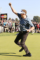 02/17/13 Pacific Palisades, CA: Charlie Beljan celebrates after making birdie put on the last hole to force a playoff with John Merrick, Merrick won the 2013 Northern Trust on the second playoff hole.