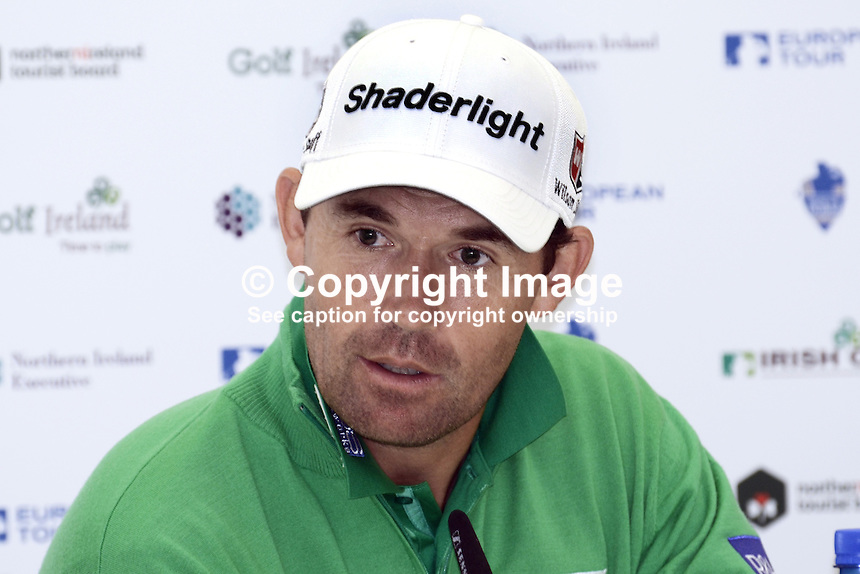 Padraig Harrington, professional golfer, Rep of Ireland, being interviewed by journalists at the 2012 Irish Open at Royal Portrush Golf Club, N Ireland, 201206260240..© Victor Patterson, 54 Dorchester Park, Belfast, N Ireland. Tel: +44 2890661296; Mobile: +44 7802 353836; Emails: victorpatterson@me.com & victorpatterson@gmail.com; www.victorpatterson.com