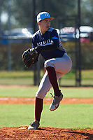 Brian Holliday (14) of Tampa, Florida during the Baseball Factory All-America Pre-Season Rookie Tournament, powered by Under Armour, on January 14, 2018 at Lake Myrtle Sports Complex in Auburndale, Florida.  (Michael Johnson/Four Seam Images)