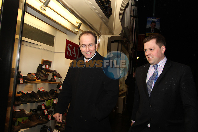 Micheál Martin and Thomas Byrne canvassing in Kells...(Photo credit should read Jenny Matthews www.newsfile.ie)....This Picture has been sent you under the conditions enclosed by:.Newsfile Ltd..The Studio,.Millmount Abbey,.Drogheda,.Co Meath..Ireland..Tel: +353(0)41-9871240.Fax: +353(0)41-9871260.GSM: +353(0)86-2500958.email: pictures@newsfile.ie.www.newsfile.ie.
