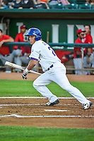 Gage Green (21) of the Ogden Raptors at bat against the Orem Owlz in Pioneer League action at Lindquist Field on August 28, 2015 in Ogden, Utah. Ogden defeated Orem 14-6. (Stephen Smith/Four Seam Images)